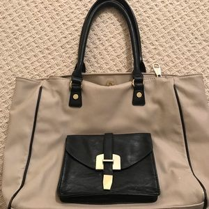 Steve Madden Cream and Black Professional Tote